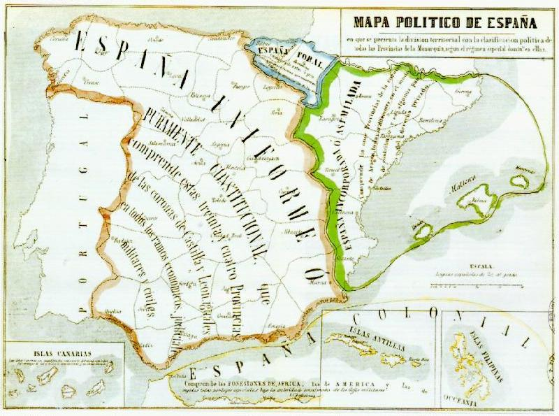 Mapa polític d'Espanya (1852