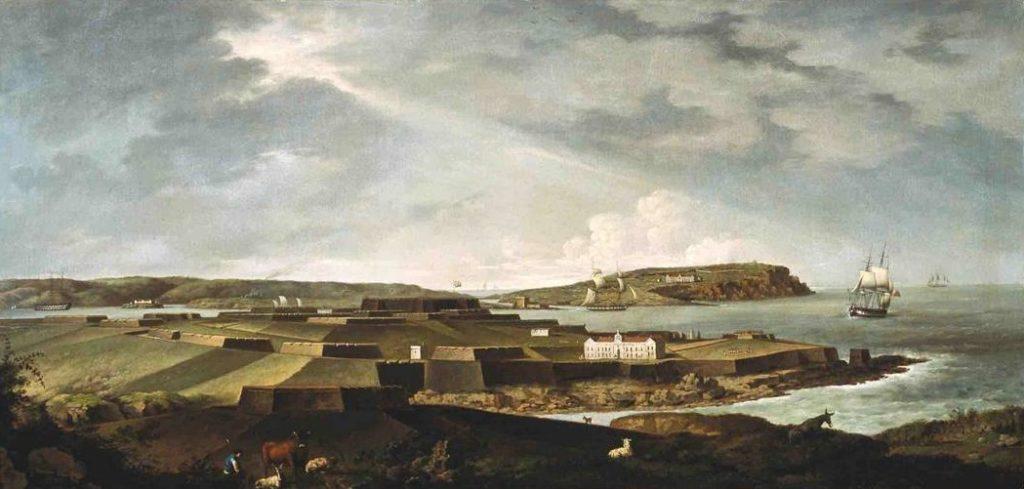 """""""Castell de sant Felip"""" (1793[ca]-1800[ca]), d'Anton Schranz. Quadre conservat al Museu de Menorca"""