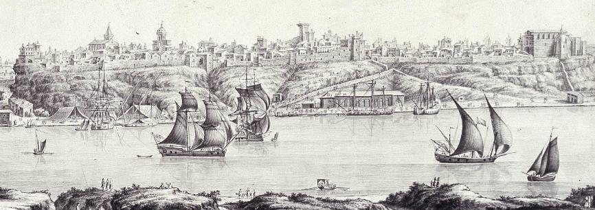 """Fragment del quadre """"Vista de la ciutat i port de Maó"""" (ca 1765), de Giuseppe Chiesa"""