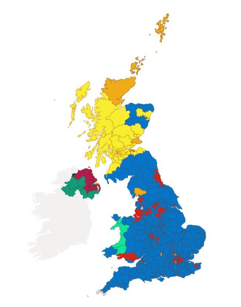 mapa electoral UK